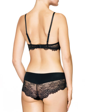 Lauma, Black Lace Plunge Push-up Bra, On Model Back, 08J10