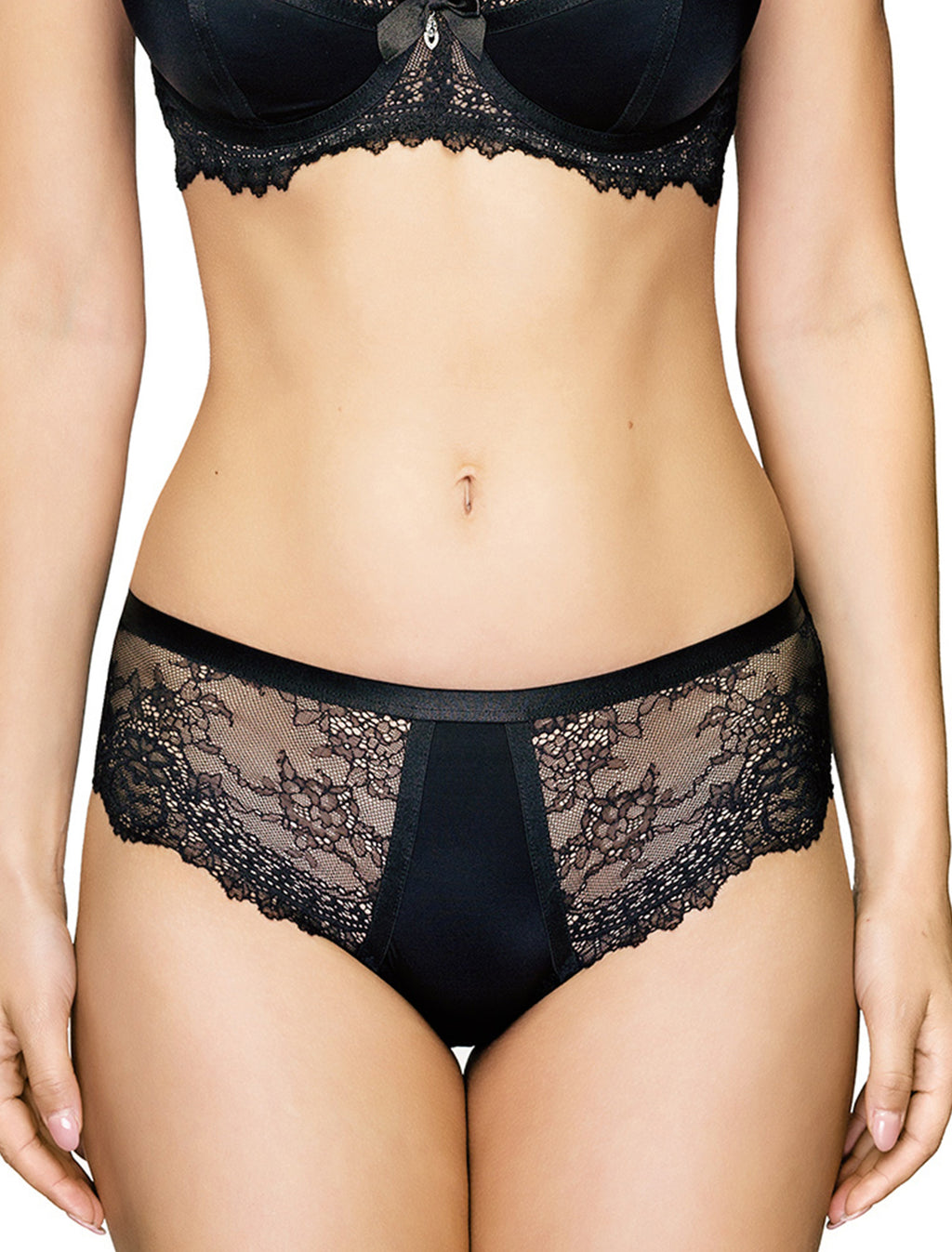 Lauma, Black Lace Mid Waist Panties, On Model Front, 08J50