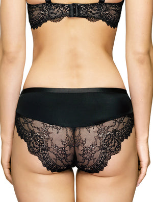Lauma, Black Lace Mid Waist Panties, On Model Back, 08J50