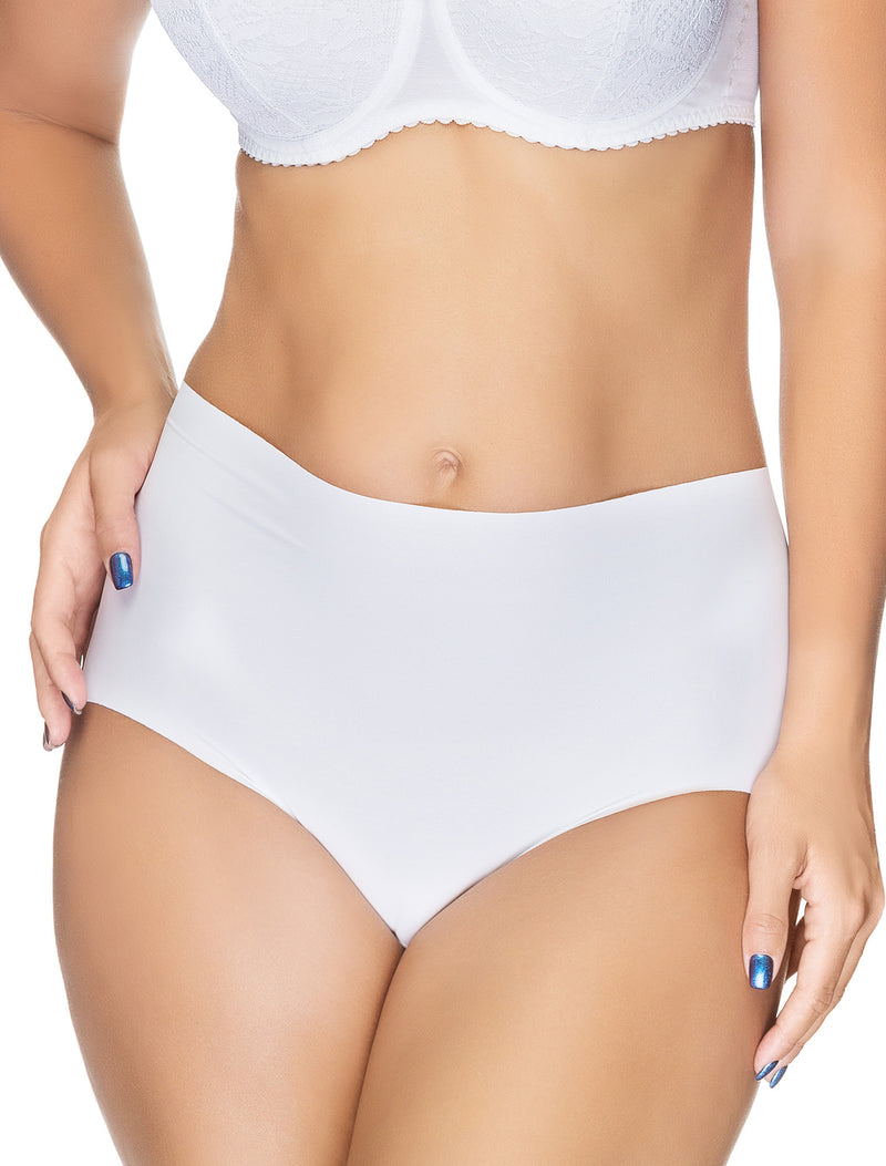 Lauma, White Seamless High Waist Panties, On Model Front, 14B51