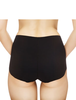 Lauma, Black Seamless High Waist Panties, On Model Front, 14B51