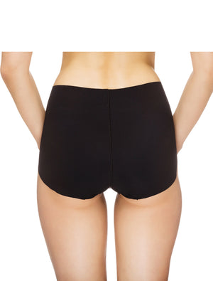 Lauma, Black Seamless High Waist Panties, On Model Back, 14B52