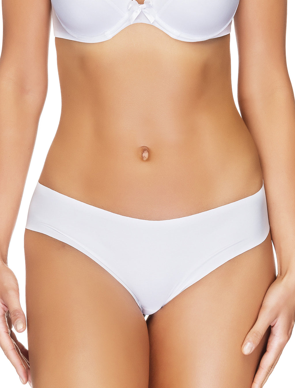 Lauma, White Seamless Mid Waist String Tanga, On Model Front, 14B60