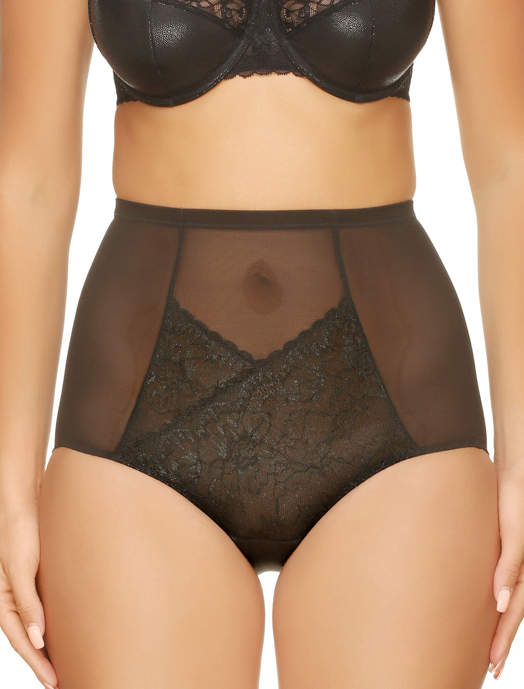 Lauma, Black Sheer High Waist Panties, On Model Front, 14H52