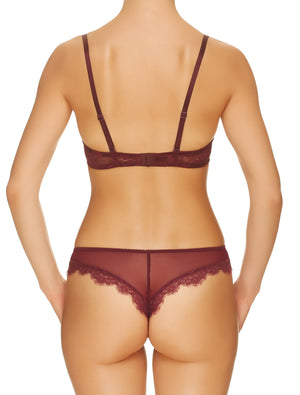 Lauma, Dark Red Mid Waist Lace String Panties, On Model Back, 16H61