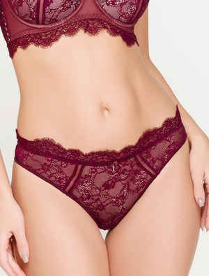 Lauma, Dark Red Mid Waist Lace String Panties, On Model Front, 16H60