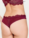 Lauma, Dark Red Mid Waist Lace String Panties, On Model Back, 16H60