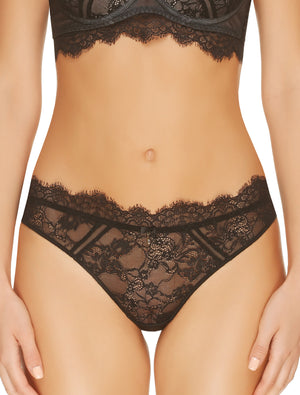 Lauma, Black Mid Waist Lace String Panties, On Model Front, 16H60