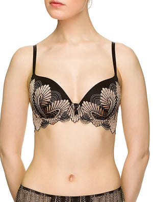 Lauma, Black  Lace Moulded Push-Up Bra, On Model Front, 17J35