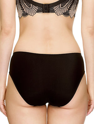 Lauma, Black Mid Waist Panties, On Model Back, 17J52