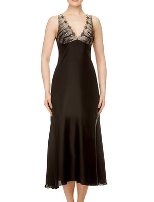 Lauma, Black Satin Night Dress, On Model Front, 17J90