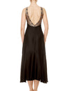 Lauma, Black Satin Night Dress, On Model Back, 17J90