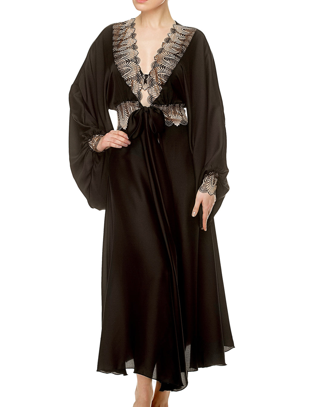 Lauma, Black Satin Dressing Gown, On Model Front, 17J95