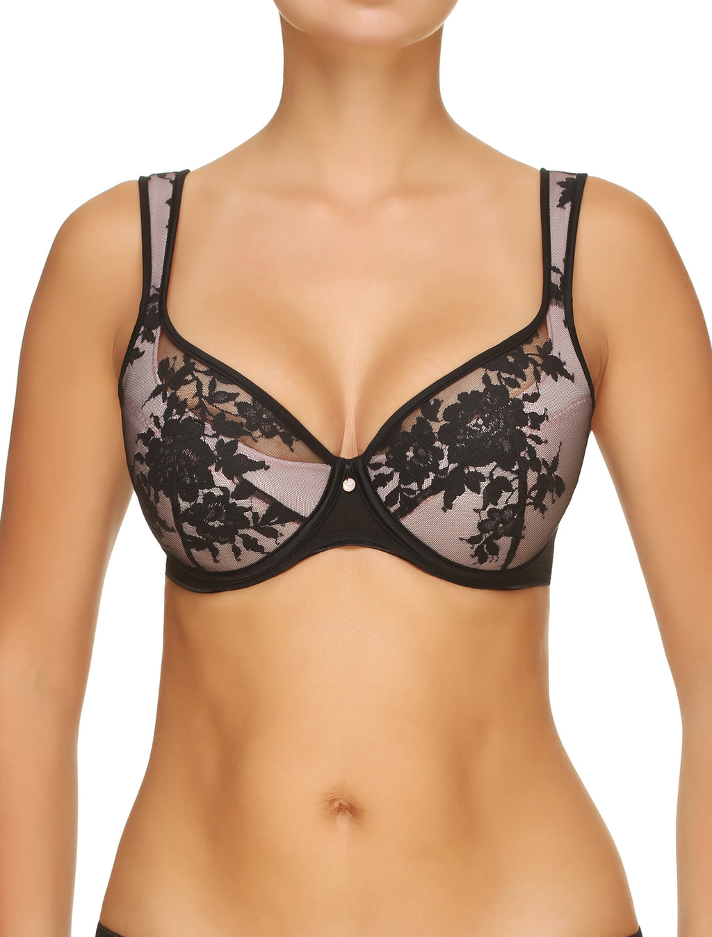 Lauma, Black Padded Lace Bra, On Model Front, 20H40