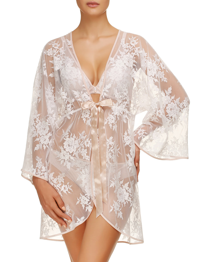 Lauma, Ivory Lace Dressing Govn, On Model Front, 20H98