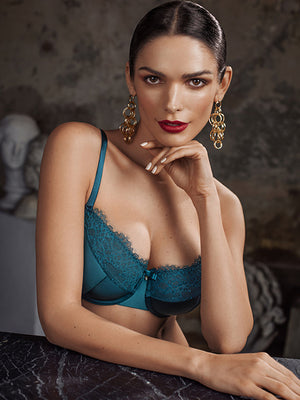 Lauma, Green Half Padded Bra, On Model Front, 31H40