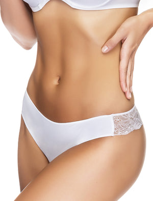 Lauma, White Seamless String Panties, On Model Front, 29F60