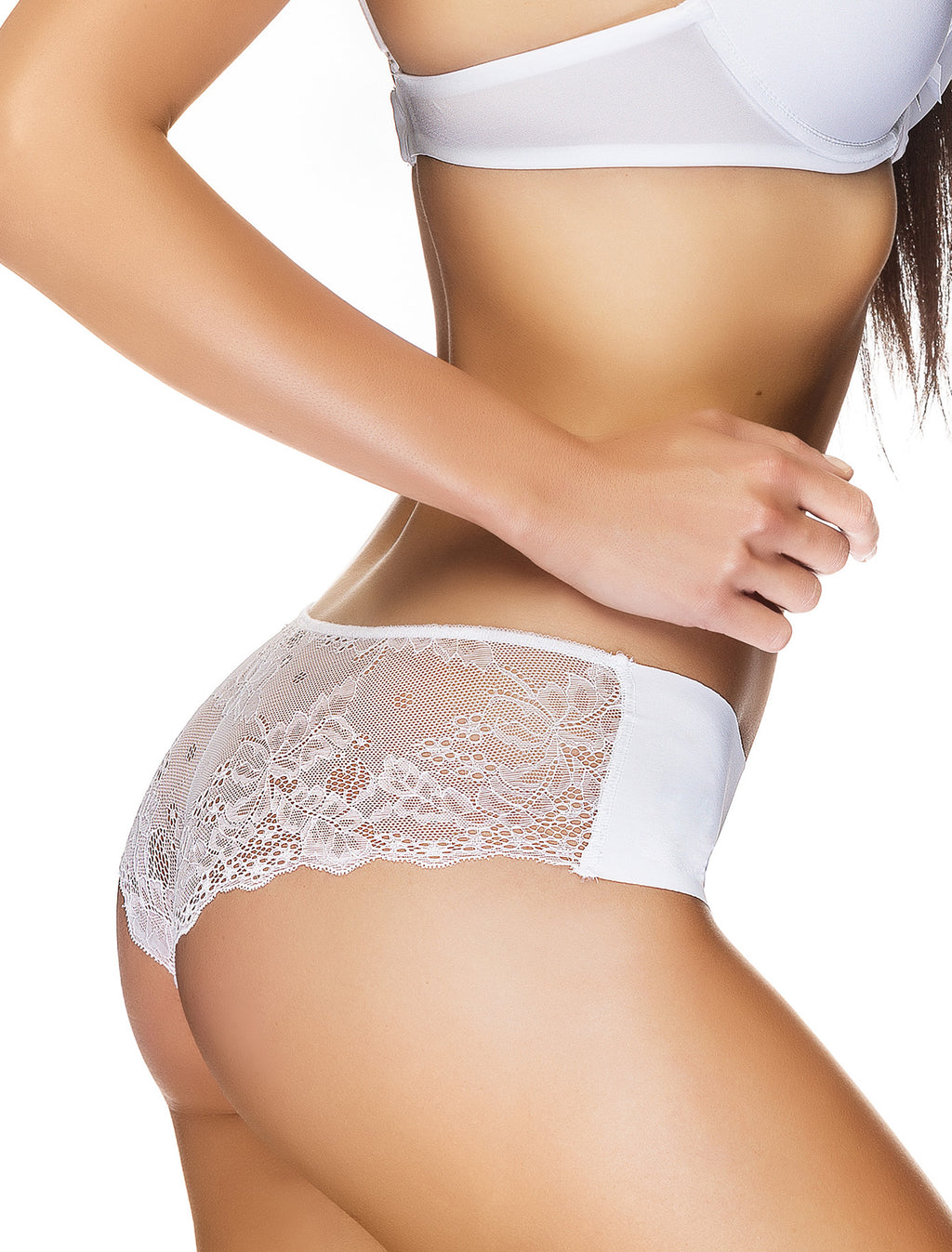 Lauma, White Seamless Shorts Panties, On Model Back, 29F70