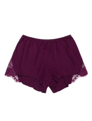 Lauma, Burgundy Viscose Pyjama Shorts, On Model Front, 29H71