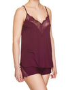 Lauma, Burgundy Viscose Pyjama Cami Top, On Model Front, 29H91