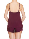 Lauma, Burgundy Viscose Pyjama Cami Top, On Model Back, 29H91