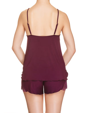 Lauma, Burgundy Viscose Pyjama Shorts, On Model Back, 29H71