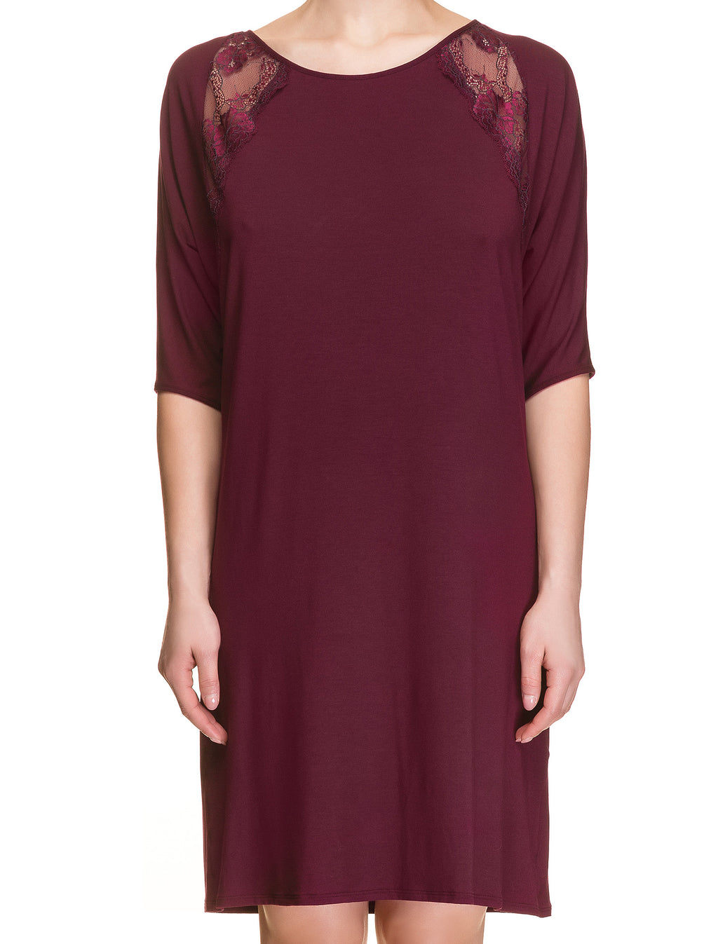 Lauma, Burgundy Viscose Night Dress, On Model Front, 29H92