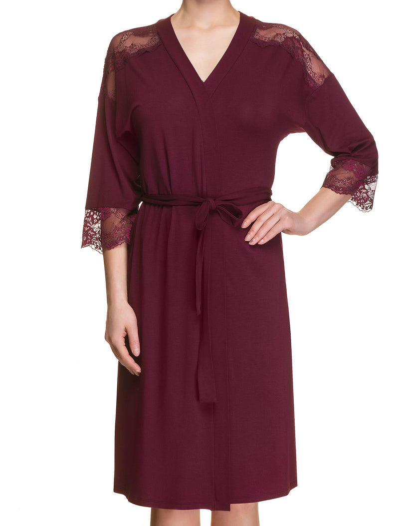 Lauma, Burgundy Viscose Dressing Gown Robe, On Model Front, 29H98