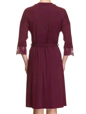 Lauma, Burgundy Viscose Dressing Gown Robe, On Model Back, 29H98