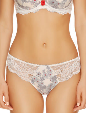 Lauma, Ivory Lace String Tanga, On Model Front, 30H60