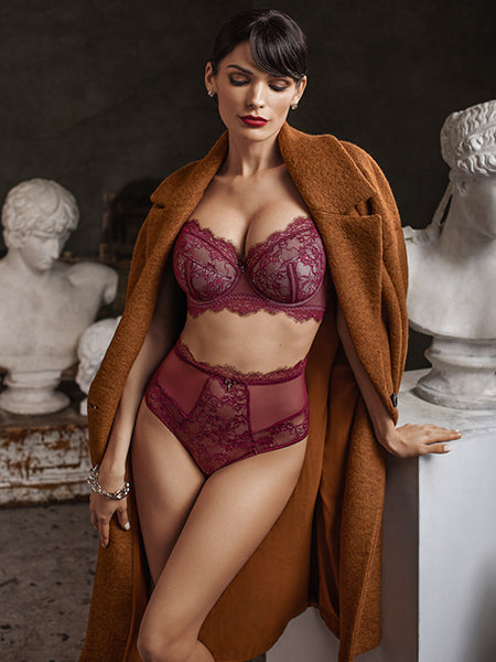 Lauma, Dark Red Half-padded Lace Bra, On Model Front, 16H40