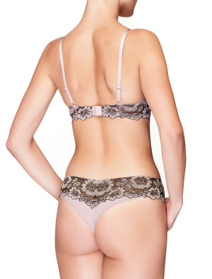 Lauma, Brown Lace Push Up Bra, On Model Back, 35H10