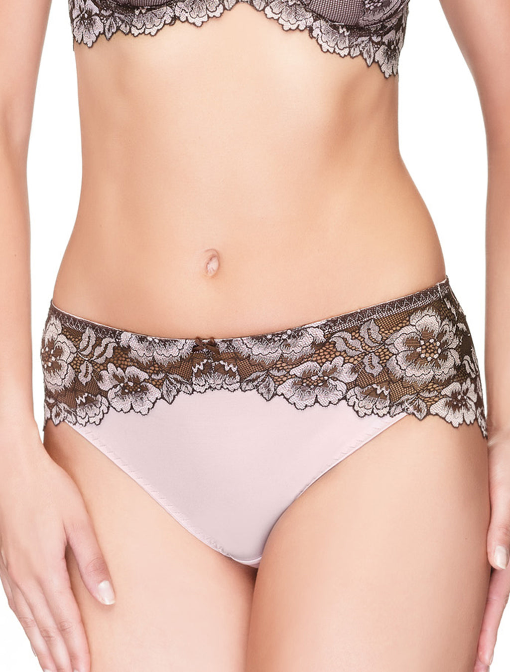 Lauma, Brown Mid Waist Lace Panties, On Model Front, 35H50