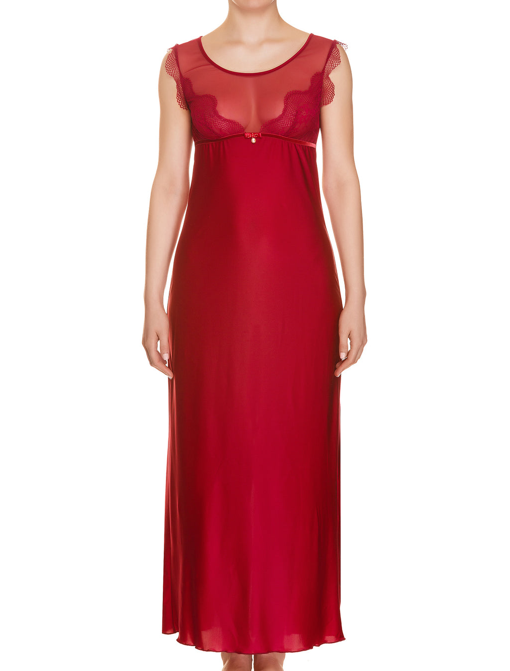 Lauma, Red Long Night Dress, On Model Front, 41H90