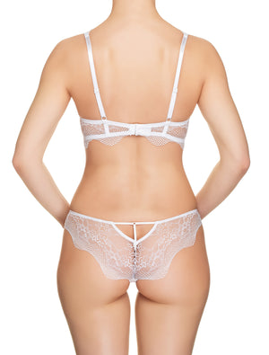 Lauma, White Plunge Push Up Lace Bra, On Model Back, 42H10