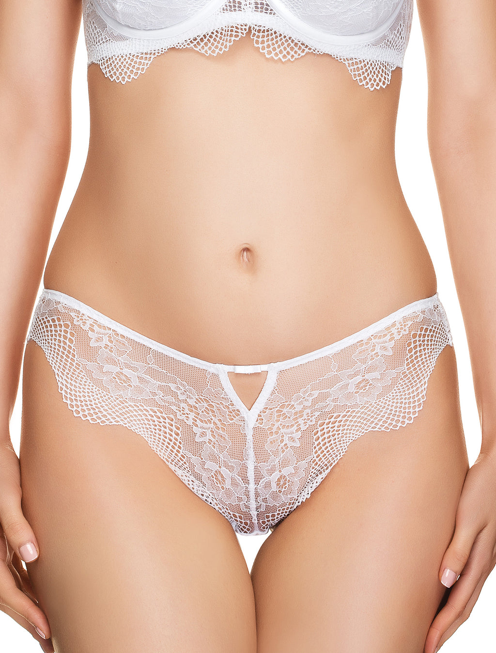 White Story Lace String Panties
