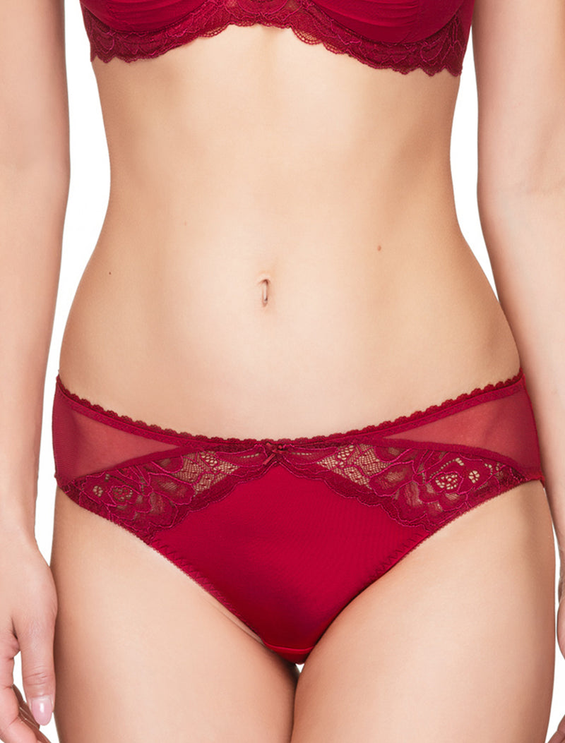 Lauma, Red Mid Waist Panties, On Model Front, 47H50