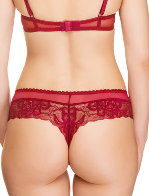 Lauma, Red Lace String Tanga, On Model Back, 47H62