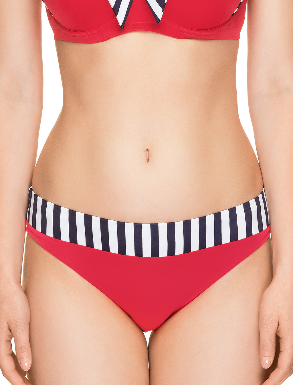 Lauma, Red Swimwear Bikini Bottoms, On Model Front, 52H50