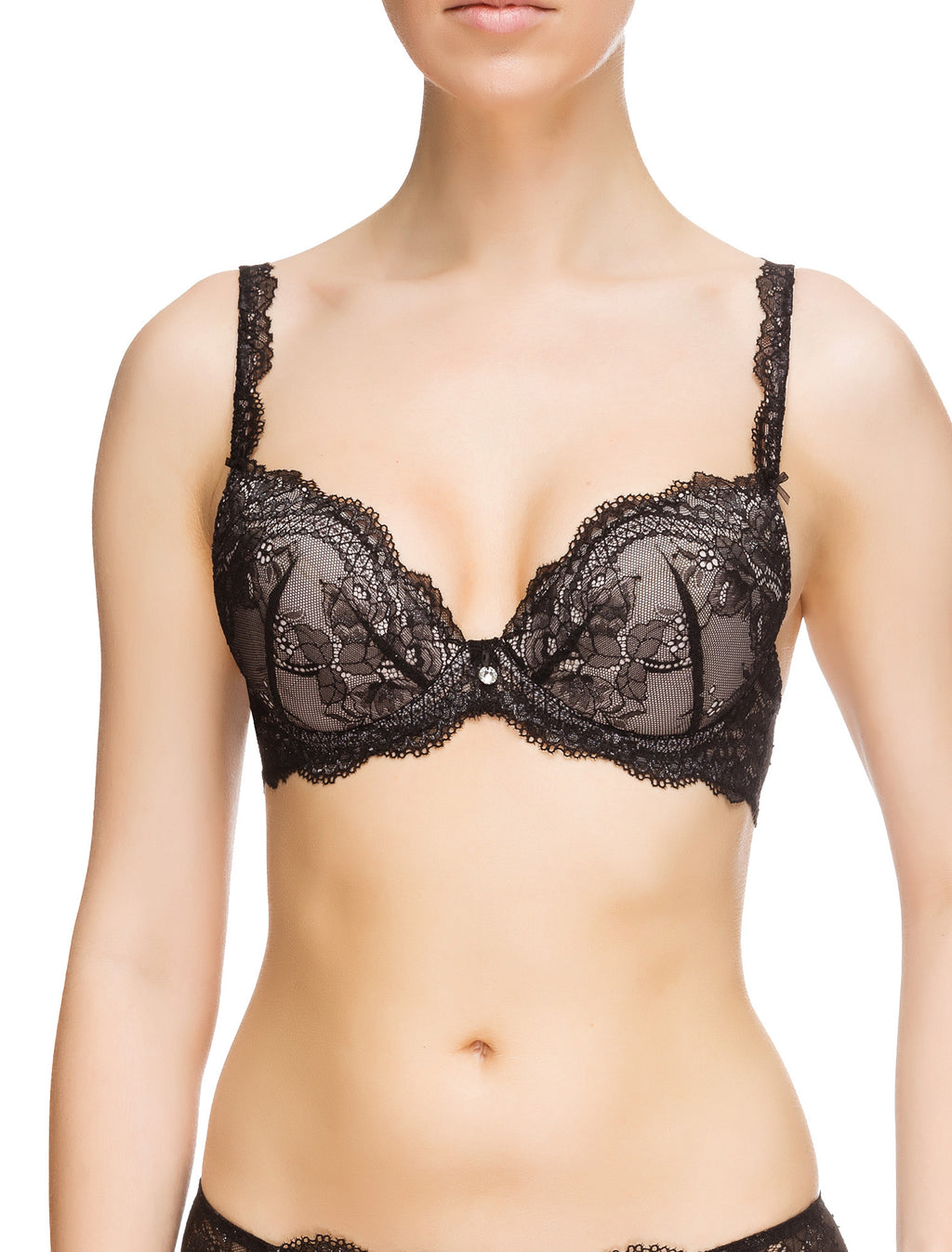 Lauma, Black Lace Push Up Bra, On Model Front, 54G10
