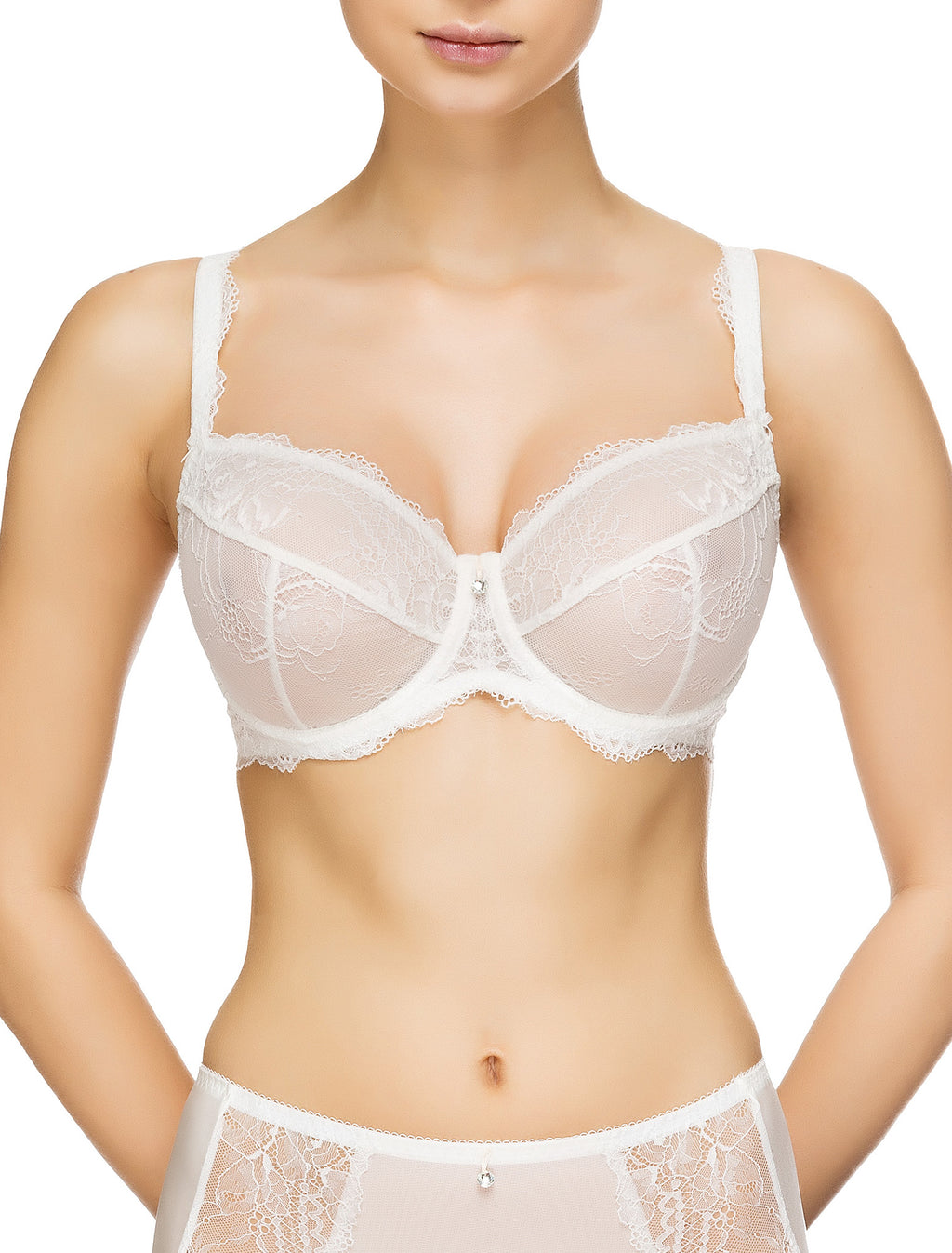 Lauma, Ivory Non-padded Lace Bra, On Model Front, 54G20