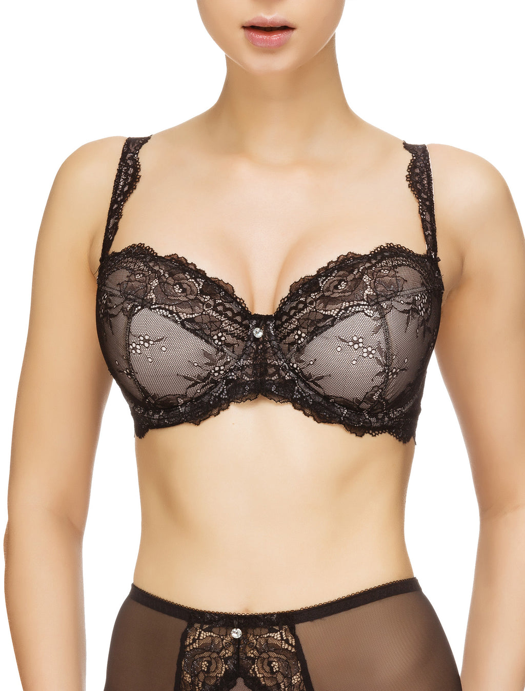Lauma, Black Underwired Lace Bra, On Model Front, 54G40