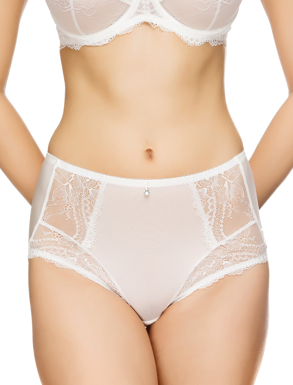 Lauma, Ivory High Waist Panties, On Model Front, 54G53