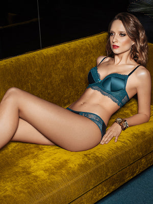 Lauma, Green Push Up Bustier Bra, On Model Front, 31H11