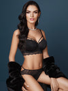 Lauma, Black Lace Strappy Bra, On Model Front, 60F20