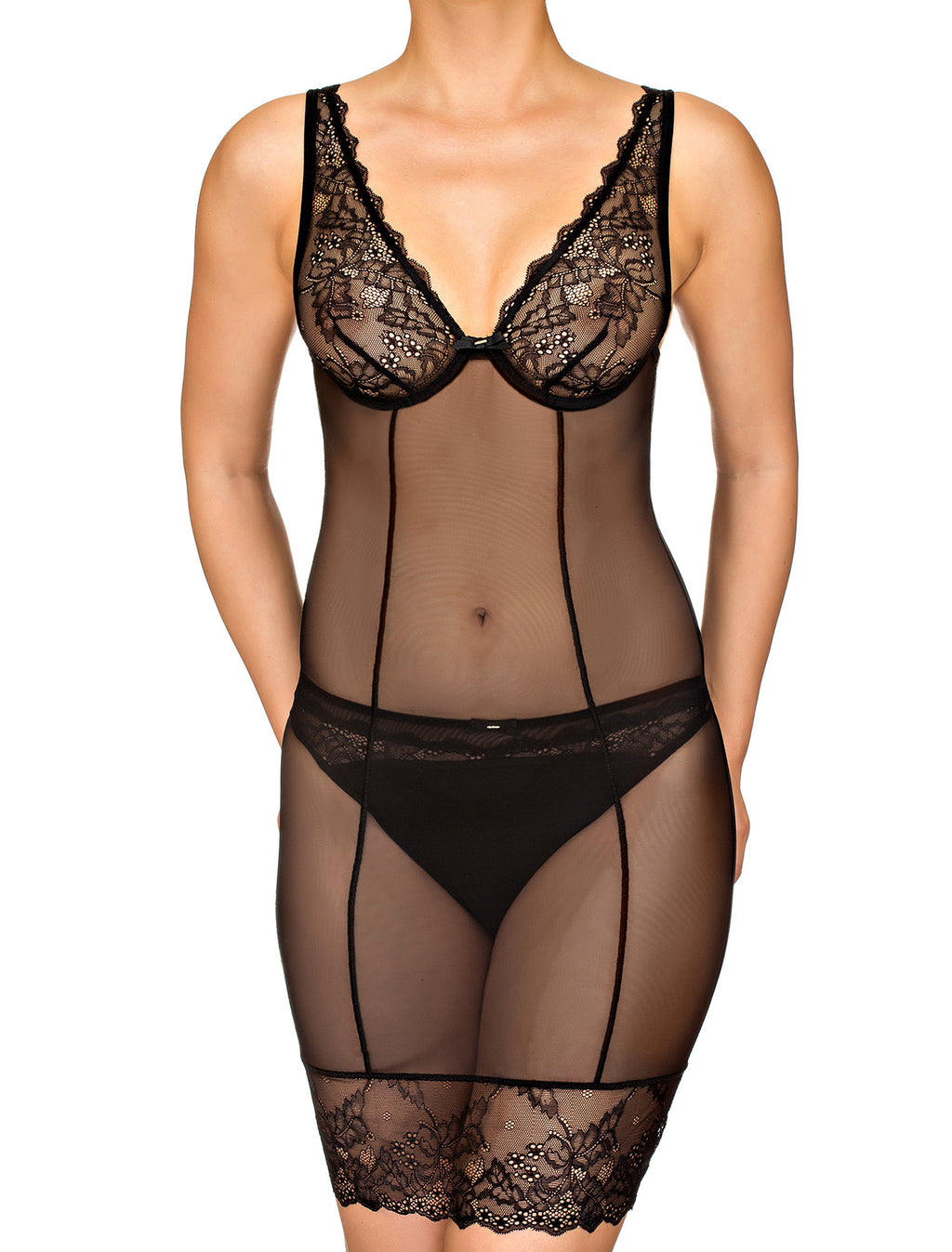 Semi-Sheer Mesh Under Slip