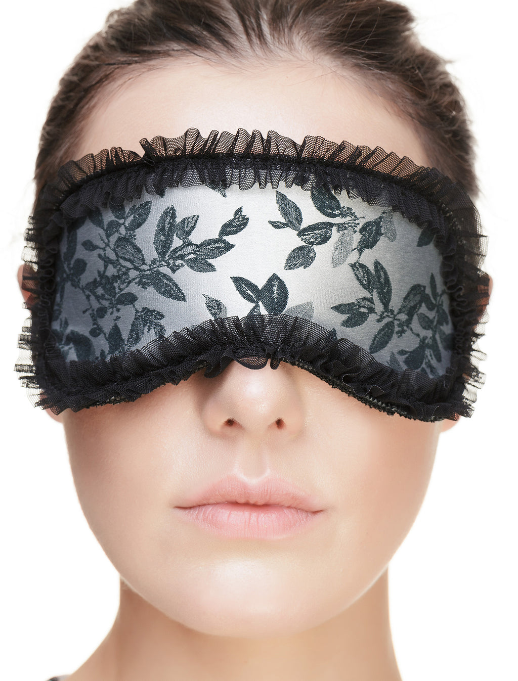 Lauma, Silver Satin Sleeping Mask, On Model Front, 63J00