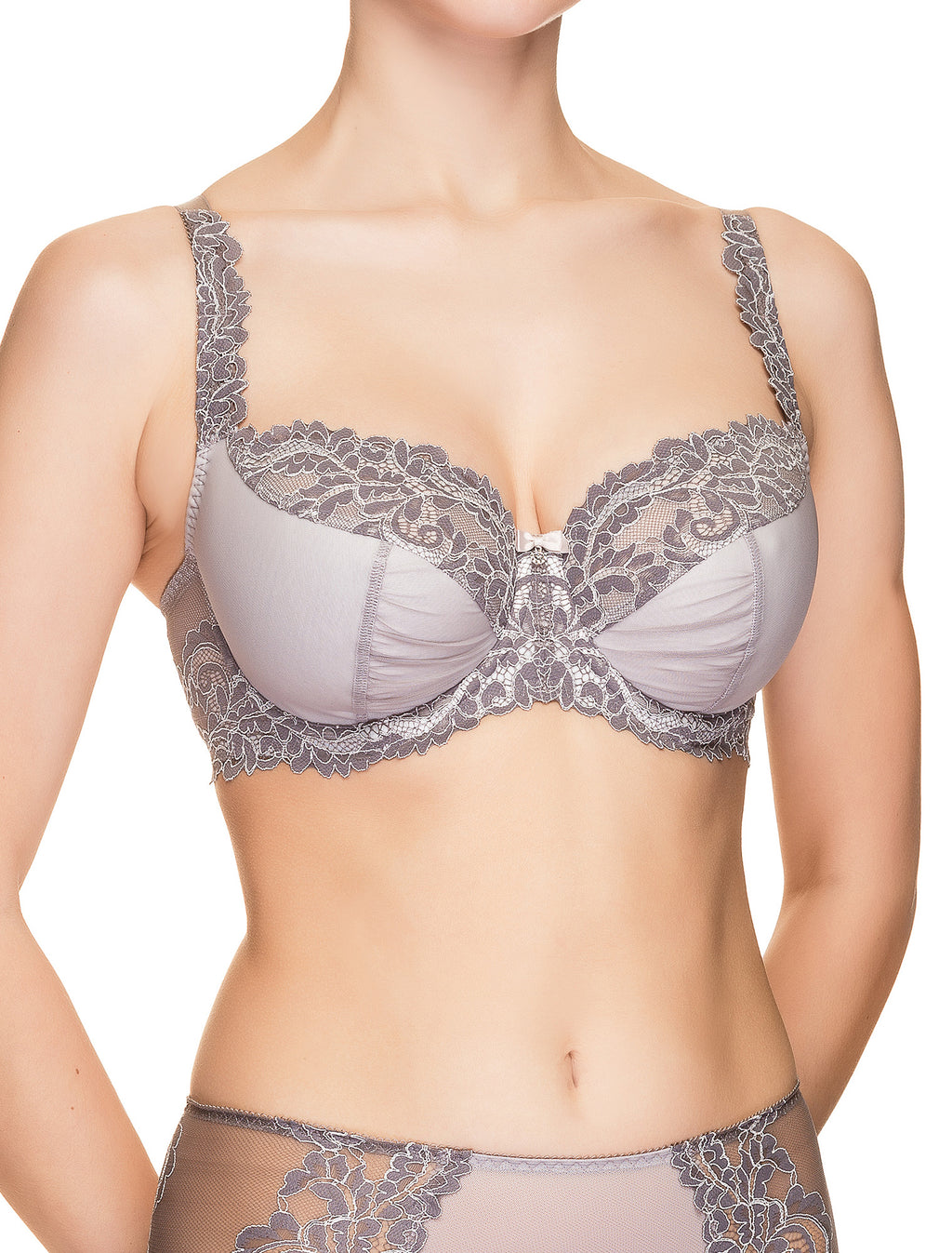 Lauma, Grey Non-padded Lace Bra, On Model Front, 64H20