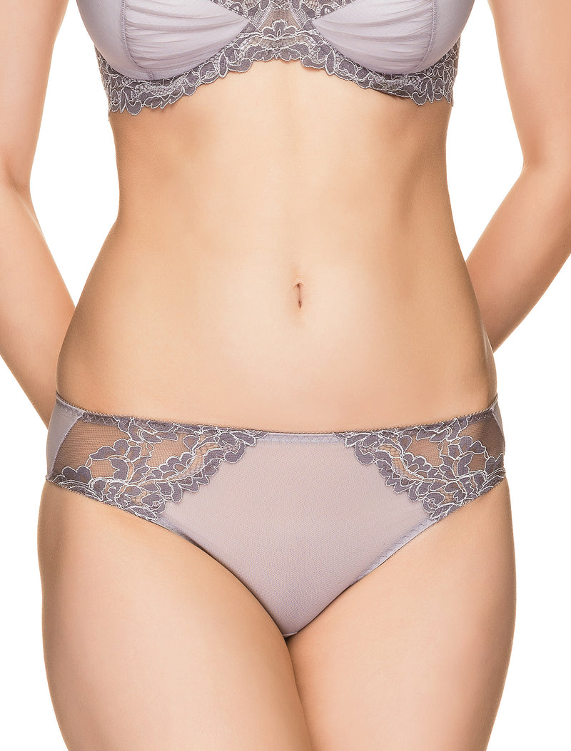 Lauma, Grey Mid Waist Panties, On Model Front, 64H50