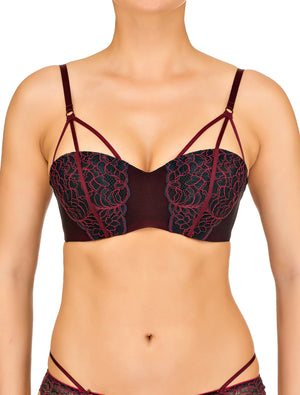 Lauma, Red Strappy Balconette Bra, On Model Front, 65F30